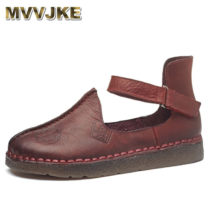 MVVJKE Women Shoe Genuine Leather Handmade Flats Shoes 2018 Spring Autumn Fashion Shoe Comfortable Soft Driving Shoes Women gktinoo bow tassel loafers shoe for women handmade genuine leather soft flats autumn driving shoe round toe women flats