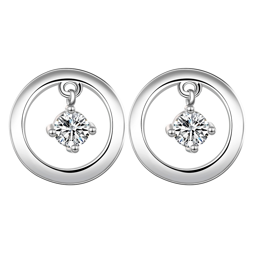 Silver Plated Earrings Big Round Crystal Earring Studs Charms Wedding  Accessories For Women Cheap Chinese Goods
