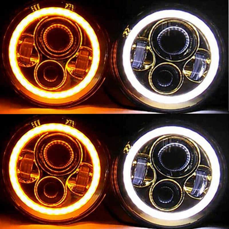 7 Inch Round LED Headlight with Amber Signal Halo Angle Eyes with white DRL  for 97-15 Wrangler(1 Pair) 7 inch round led headlight with red signal halo angle eyes with white drl halo for 97 15 jeep wrangler