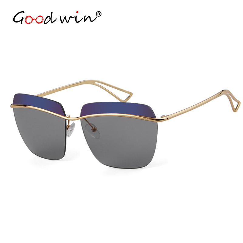 Good Win Women Sunglasses Luxury Brand Designer Rimless Sunglasses For Women Female Double Color Lens UV400 Shades Gold Oculos in Women 39 s Sunglasses from Apparel Accessories