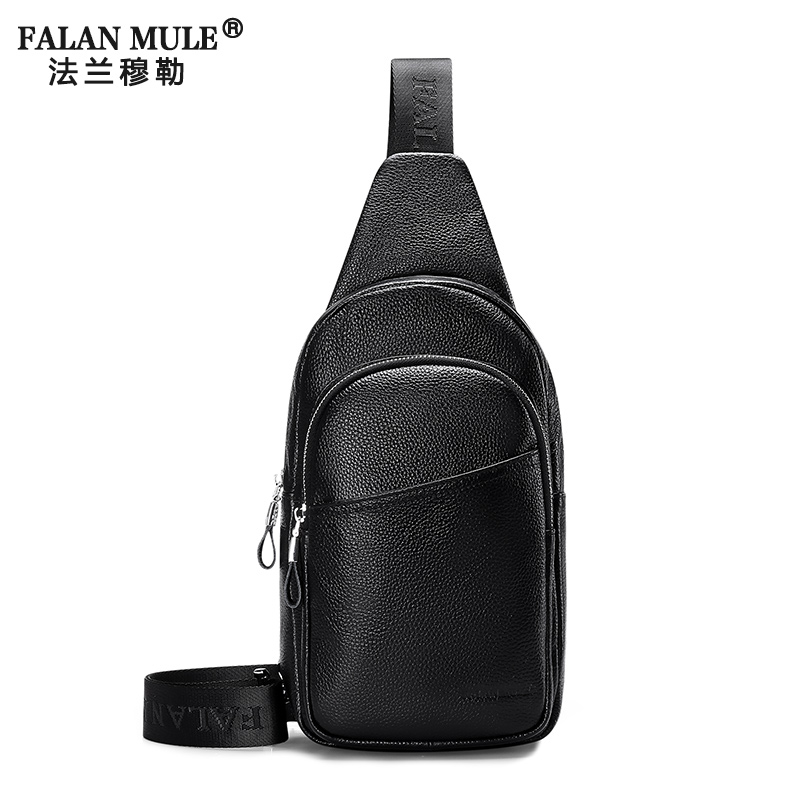 FALAN MULE Famous Brand Genuine Leather Mens Chest Bags Fashion Travel Crossbody