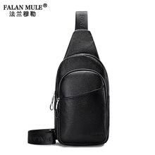 FALAN MULE Famous Brand Echtes Leder Mens Brusttaschen Mode reise Umhängetasche Mann Leder Brust Pack Weichen Männlichen Reise tasche