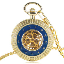 Gold&Blue Stars Hand Winding Mechanical Pocket Watch Fashion Exquisite Women Men Fob Watches Gift Skeleton Steampunk Clock Chain