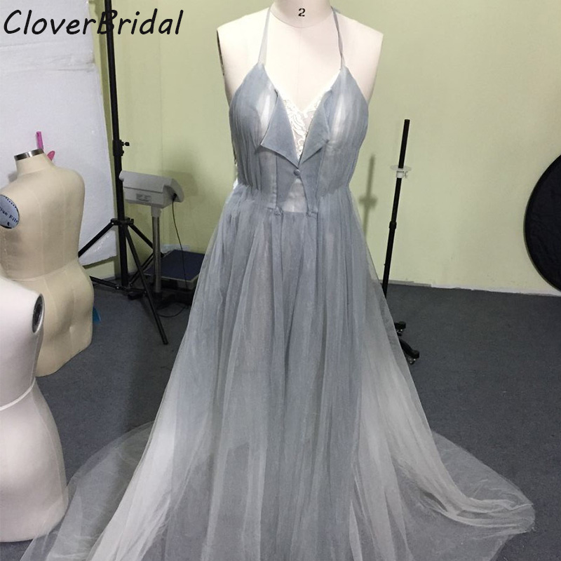 New design soft tulle smoke white high low celebrity dresses sexy backless halter corest top long train free custom made 2017