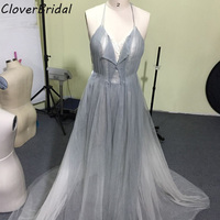 New Design Soft Tulle Smoke White High Low Celebrity Dresses Sexy Backless Halter Corest Top Long