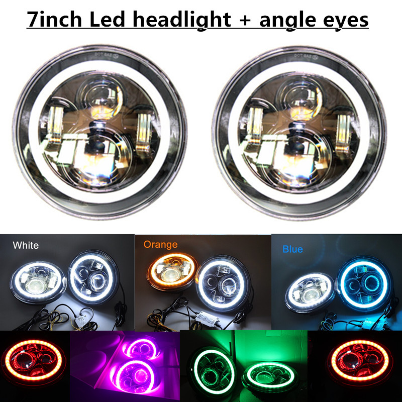 7 Round Full LED Color Halo Projector Headlights Green Red Yellow Blue White Pink Angel eyes