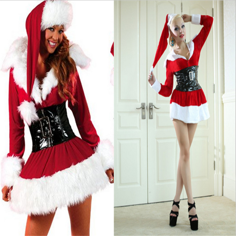 Sexy women Christmas Cosplays Costumes Beauty online 2018New Sexy Christmas Costumes long-sleeved Hollow Out Beauty Hooded Dress