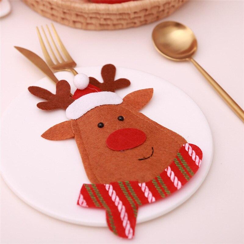 Шляпа Санты, олень, Рождество, Год, карманная вилка, нож, столовые приборы, держатель, сумка для дома, вечерние украшения стола, ужина, столовые приборы 62253 - Цвет: S