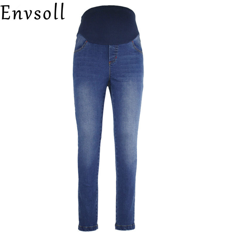 Envsoll Maternity Jeans For Pregnant Women Elastic Waist Skinny Fine Pregnancy Pants Maternity Prop Belly Legging woman fashion slim solid knee distrressed maternity wear jeans premama pregnancy prop belly adjustable pants for women c73