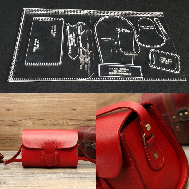DIY Manual Leather Making Template Acrylic Paper Pattern, Shoulder Bag, Slanting Bag Edition Design 23x16x10cm