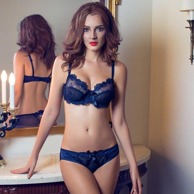 Комплект нижнего белья прозрачный сексуальный кружевной бюстгальтер Набор  Плюс Размер Женская марлевая вышивка ультра-тонкое 327fc7af810