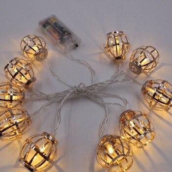 Beleuchtung Saiten Nordic Schmiedeeisen Batterie Betrieben Licht Marokkanischen Ball Retro Stil Kreative Persönlichkeit Schlafzimmer Nacht Lampe