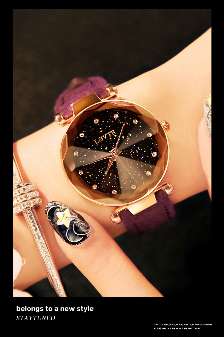 18 Luxury Brand Gogoey Women Watches Personality romantic starry sky Wrist Watch Leather Rhinestone Designer Ladies Red Clock 23