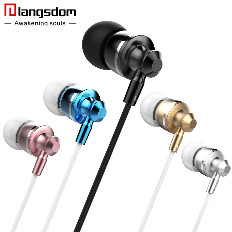 Langsdom Metal Earphones for Phone Bass In-ear Headset with Microphone Hifi Earphone for Xiaomi Stereo Earbuds fone de ouvido glaupsus gj01 in ear 3 5mm super bass microphone earphones earplug stereo metal hifi in ear earbuds for iphone mobile phone