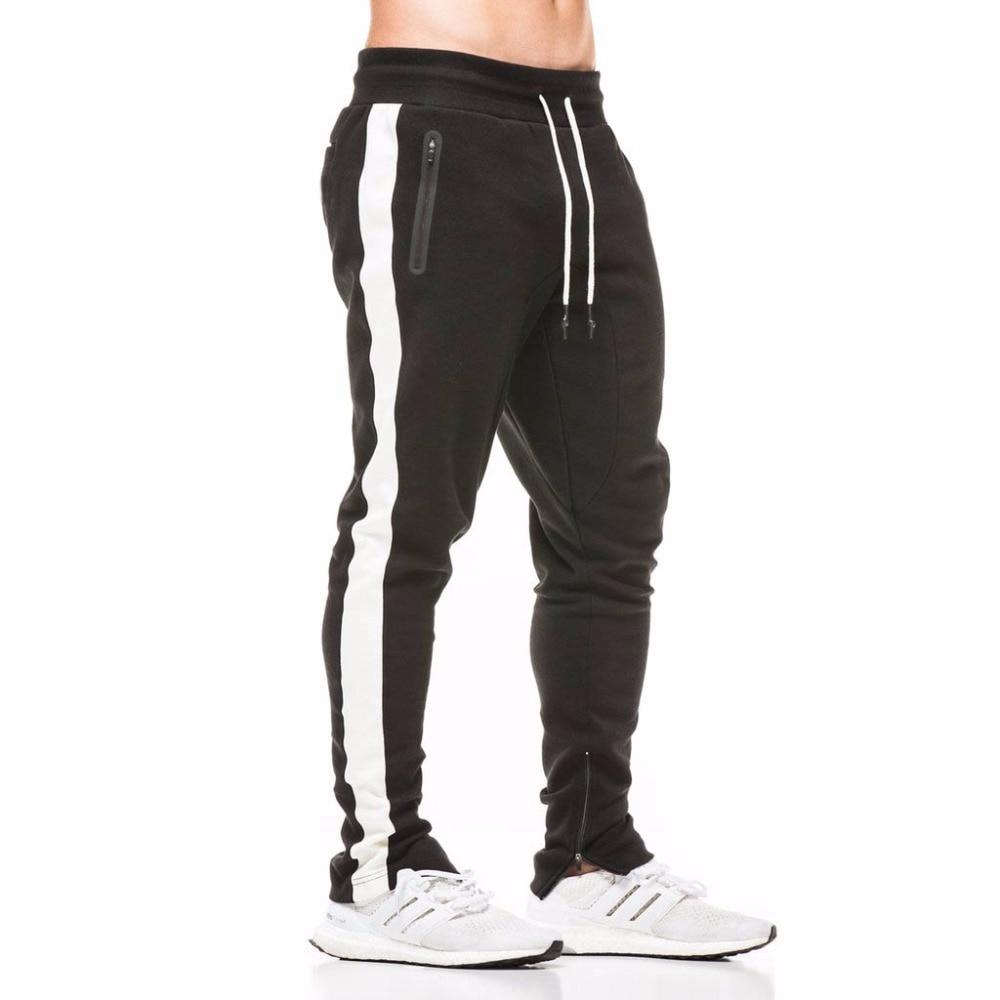 Cotton Men Jogger Sportswear Pants 2018 New Autumn Mens Sweatswear Pants Printing Side Stripe Pockets Men Vintage Sweatpant