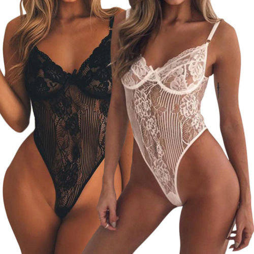 New Women Sexy Summer Mesh Sheer Lace Crochet Bodycon Bodysuit Tops Sunsuit Outwear Party Club Leotard Romper Jumpsuit Sunsuit