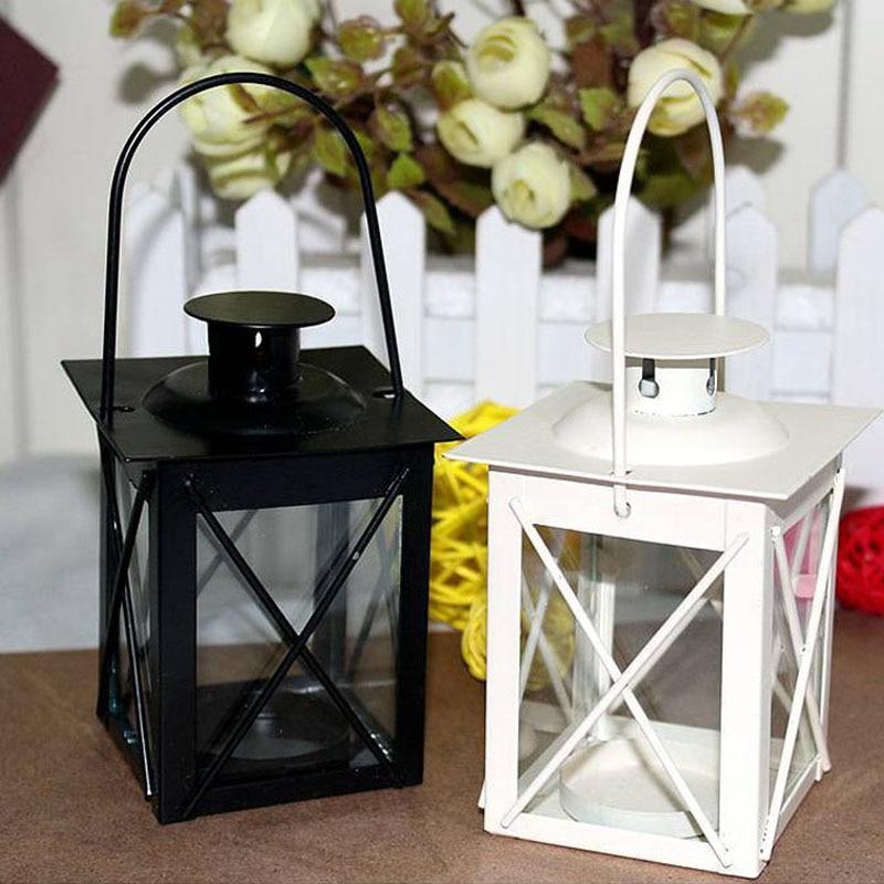 Hanging Candle Lanterns Flower Tower Lantern Wedding: Black/White Metal Candle Holders Iron Lantern Hanging