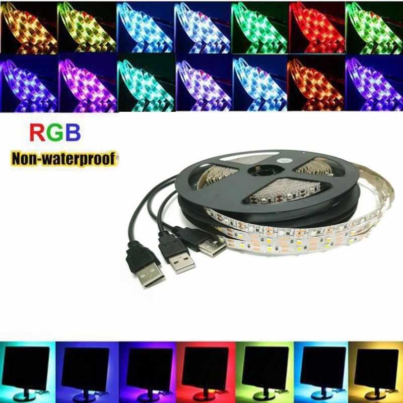USB LED Lampu Strip 2835SMD DC5V Fleksibel Lampu LED Tape Pita 1 M 2 M 3 M 4 M 5 M HDTV TV Desktop Latar Belakang Layar Bias Lampu