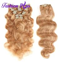 FashionPlus Clip In Human Hair Extensions Machine Made Full Head Set Body Wave Remy Human Hair