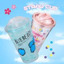 Drink Cup Water Fashion PS Plastic 450m Bottle Summer Crushed Ice