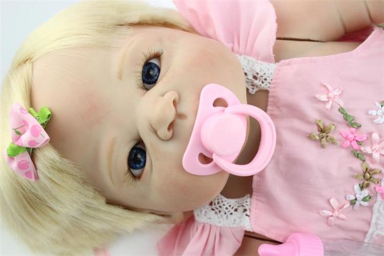 "22"" victoria blond hair girl doll reborn full silicone body can enter water NPK brand bebe alive reborn bonecas"