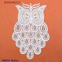 HAWARULU 2pcs 16.5cm DIY Owl series water-soluble milk silk embroidery flower christmas african lace fabric wedding decoration