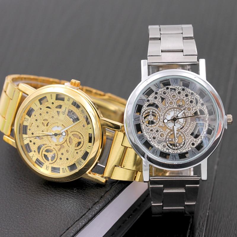 Mens Quartz Wristwatches Men Silver Gold Metal Strap Watches Skeleton Hollow Out Design Roman Numeral Male Bracelet Watches