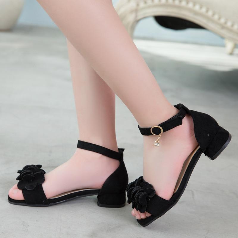 Girls Sandals 2019 Beach Children'S Shoes Princess Flower Kids Sandals Summer Shoes Girl High Heels 4 5 7 8 9 10 11 12 Year Old