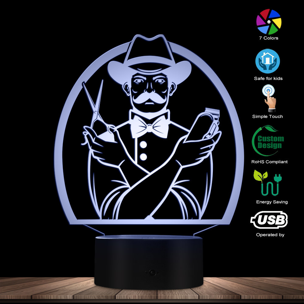 Barber Designed Visual Lamp 3D Optical Illusion Night Light Barber Shop Hairdresser Hair Salon Decorative Lighting Table Lamp