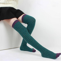 Autumn Winter Wool Socks Women Stockings Warm Fashion Thigh High Over The Knee Socks Long Absorbent