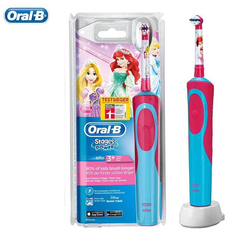 Braun Oral B Children Electric Toothbrush Oral Care Soft Bristle Kids Magic Time With 1 Tooth brush Waterproof  Ages 3+ 2pcs philips sonicare replacement e series electric toothbrush head with cap