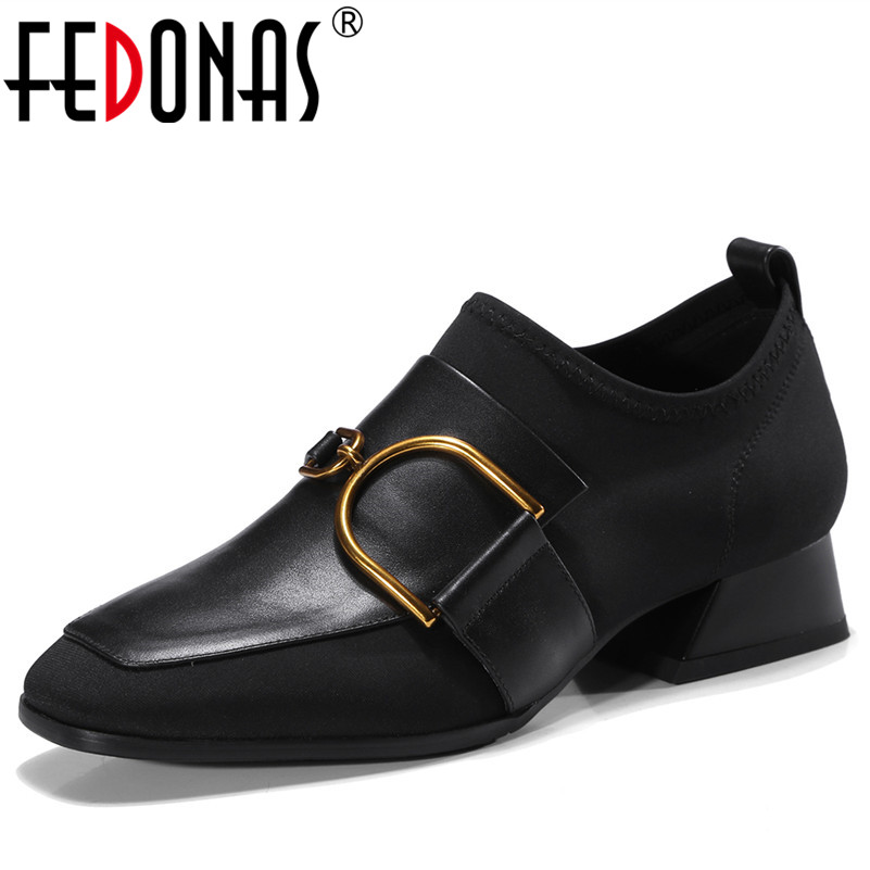 FEDONAS 2018 New Women Thick High Heels Pumps Genuine Leather Shoes Woman Ladies Black Sexy Chaussure Femal Buckles Punk Pumps