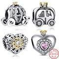 925 plata esterlina y oro coche de la calabaza del ala del corazón del amor ocho estilo cupieron pandora original pulsera del encanto diy de la joyería