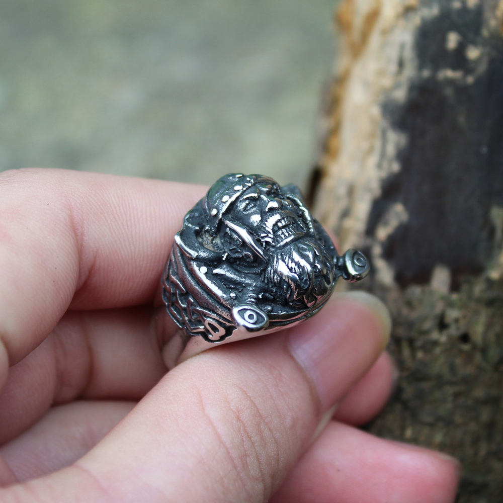 Retro Men 39 s Silver Color Viking Stainless Steel Biker Ring Vintage Celtics Ax Warrior Berserker Symbol Norse Jewelry in Rings from Jewelry amp Accessories