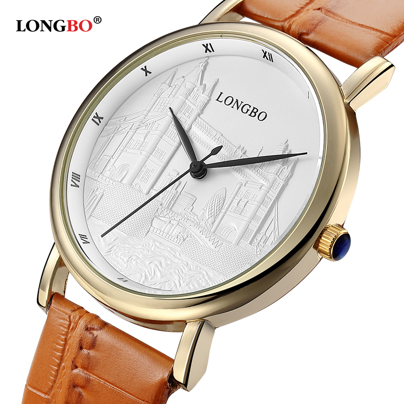 Famous Brand LONGBO Fashion Retro Lovers Watch Women Gold Leather Strap Daytona Waterproof Quartz Watch relogio