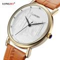 Famous Brand LONGBO Fashion Retro Lovers Watch Women Gold Leather Strap Daytona Waterproof Quartz Watch relogio feminino dourado