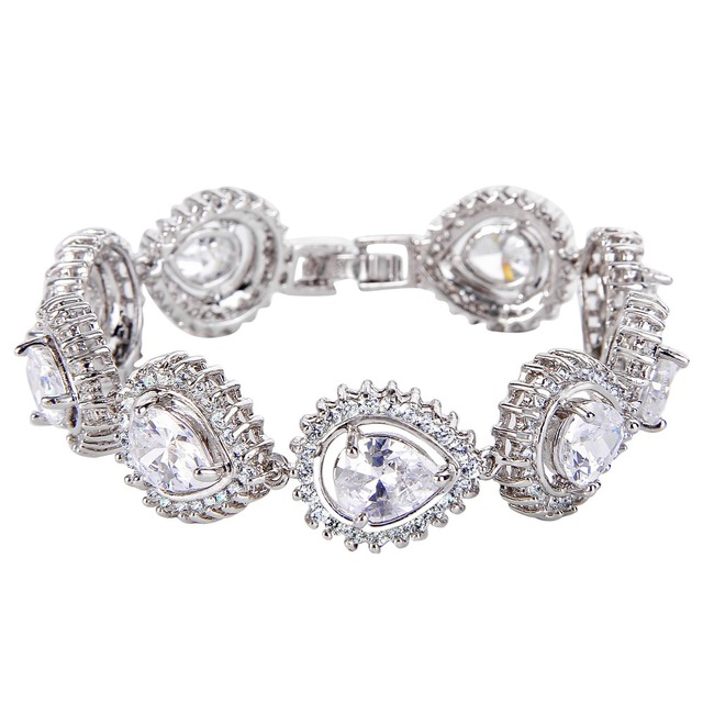 BELLA 2016 Elegant Wedding Bracelet Accessories 5 Color Cubic Zircon Bridal Tennis Bracelets Gift Clear/Blue/Green/Red/Purple