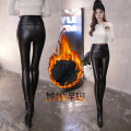 611 plus velvet thickening PU pants female gold velvet legging slim high waist pencil pants