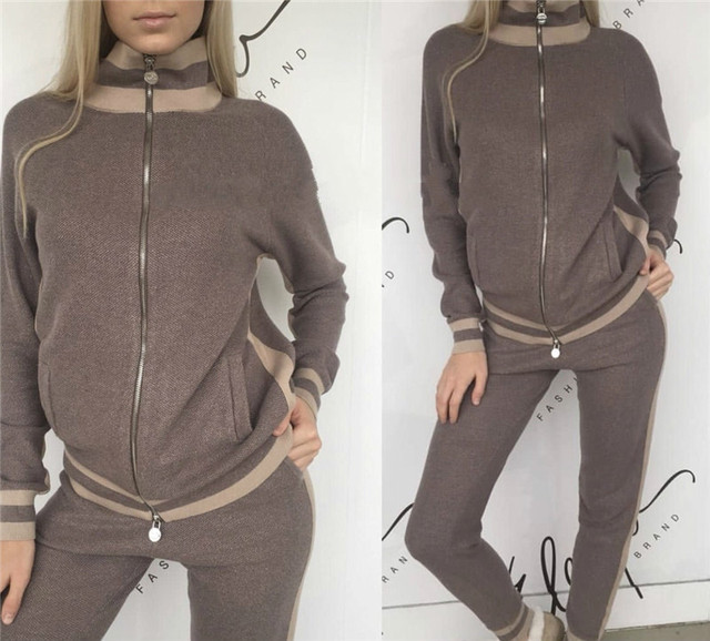 2018 Direct Selling Wool Bamboo Fiber New Cashmere Knit Imported Color Matching Half-high Collar Zipper Casual Two-piece Women