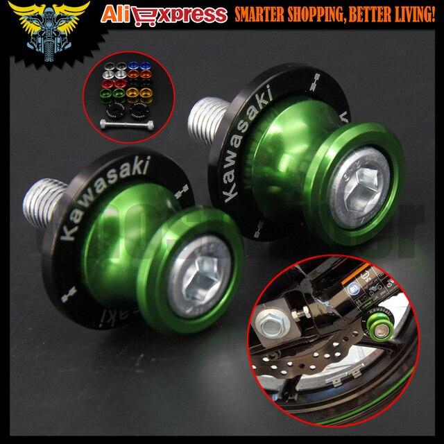 M10 Green CNC Swingarm Sliders Spools For KAWASAKI NINJA 250R 88-14,NINJA 300 13-15,NINJA 400R 10-12,NINJA 650R 06-15 Z250 13-15
