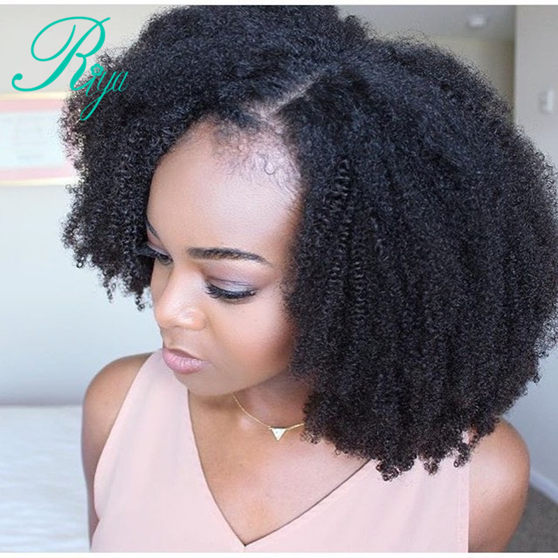 Afro Kinky Curly 13*4 Lace Front Wig With Baby Hair Mongolian Remy Short Human Hair Wigs With Baby Hair Bleached Knots Riya