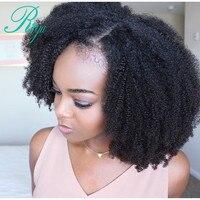 Afro Crépus Bouclés Avant de Lacet Perruque Avec Bébé Cheveux Mongol Vierge courtes Perruques de Cheveux Humains Avec Des Cheveux de Bébé Blanchis Noeuds Riya Cheveux