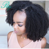 Afro Kinky Curly Lace Front Wig With Baby Hair Mongolian Virgin Short Human Hair Wigs With Baby Hair Bleached Knots Riya Hair