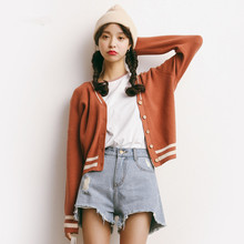 Spring and autumn cardigan women loose thin short Design V-neck cardigan white blue and red knitted sweater A660