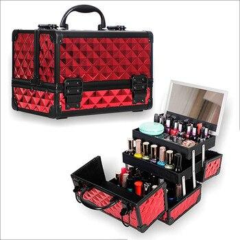 Alta Qualidade De Alumínio frame da liga de Mulheres Organizador de Maquiagem Caso Cosméticos Com Espelho Caixa de Armazenamento de Grande Capacidade de Malas de Viagem