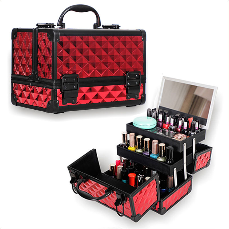 High Quality Aluminum alloy frame Makeup Organizer Women Cosmetic Case With Mirror Travel Large Capacity Storage Box Suitcases in Storage Boxes Bins from Home Garden