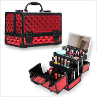 High Quality Aluminum alloy frame Makeup Organizer Women Cosmetic Case With Mirror Travel Large Capacity Storage Box Suitcases