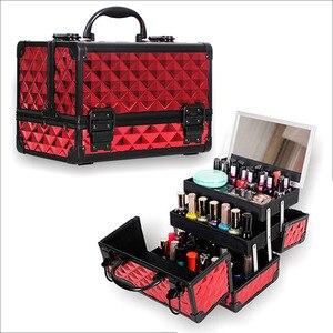 Image 1 - Valise de rangement de grande capacité pour voyage avec miroir, cadre en alliage daluminium, boîtier organisateur de maquillage pour femmes