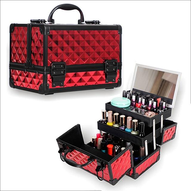 Valise de rangement de grande capacité pour voyage avec miroir, cadre en alliage daluminium, boîtier organisateur de maquillage pour femmes