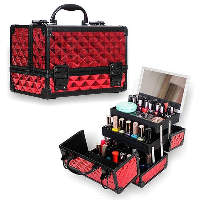 Yüksek Kaliteli Alüminyum alaşımlı çerçeve Makyaj Organizatör Kadınlar Kozmetik Durumda Ayna Ile Seyahat Büyük Kapasiteli saklama kutusu Bavul